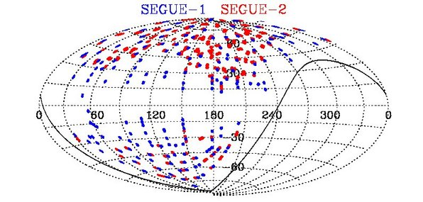 Fields of the SEGUE-1 and SEGUE-2 surveys