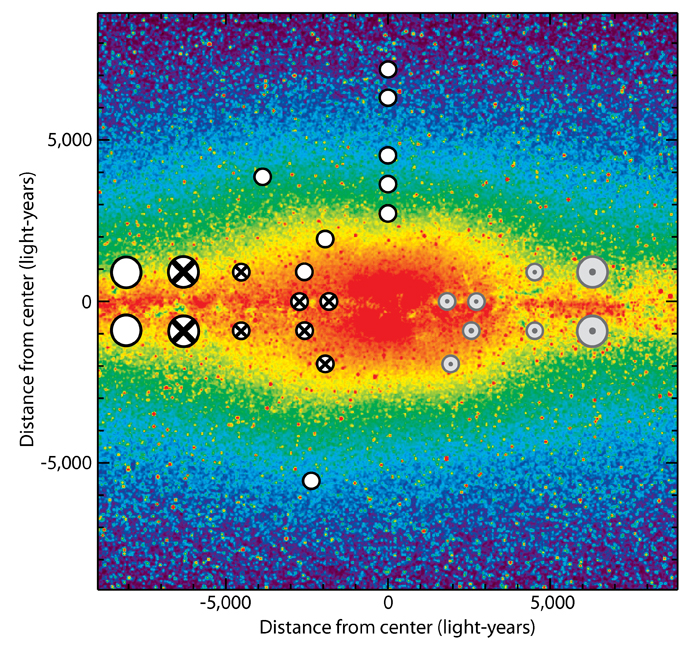 A multicolored false-color view 
